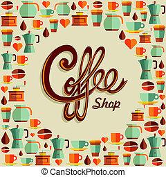 plat, koffie, pictogram, illustratie, poster