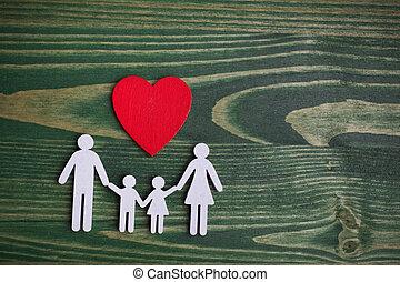 plat, leven, heart., ketting, gezin, houten, concept., verzekering, gezondheid, vorm, leggen, aanzicht, bovenzijde, rood