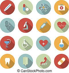 plat, medisch, vector, set, iconen