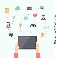 plat, mobiel communicatiemiddel, moderne, illustratie technologie