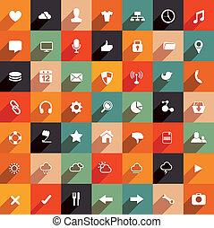 plat, moderne, set, pictogram