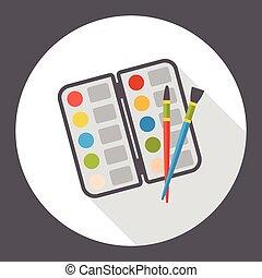 plat, palet, kunst, pictogram