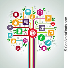 plat, school, netwerk, iconen, back, boom., opleiding