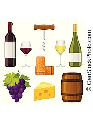 plat, set, druif, kurk, illustratie, barrel., achtergrond., vector, ontwerp, kaas, glas, wijntje, witte , fles, communie, style., winemaking, kurkentrekker
