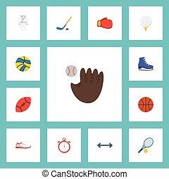 plat, set, elements., iconen, puck, golf, raket, omvat, symbolen, ook, vector, stopwatch, objects., sportende, anderen, hockey