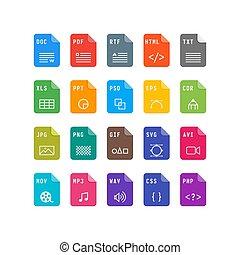 plat, set, formaat, illustratie, vector, icons., bestand