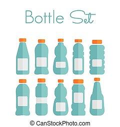 plat, set, iconen, -, plastice fles