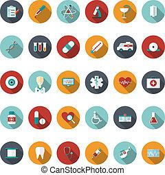 plat, set, medische illustratie, vector, icons.