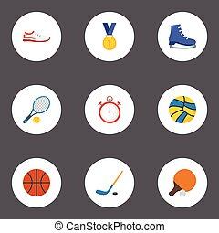 plat, set, schoentjes, elements., iconen, volleybal, objects., omvat, symbolen, ook, vector, hockey, sportende, fitness, stok, belonen, anderen