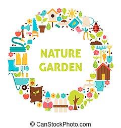 plat, set, tuin, natuur, op, voorwerpen, cirkel, witte