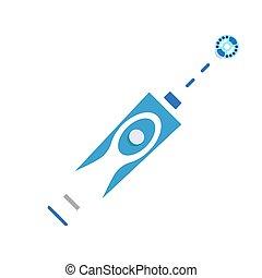 plat, stijl, elektrisch, moderne, tandenborstel, pictogram