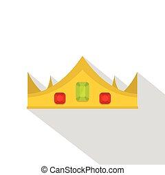 plat, stijl, gouden kroon, koninklijk, pictogram