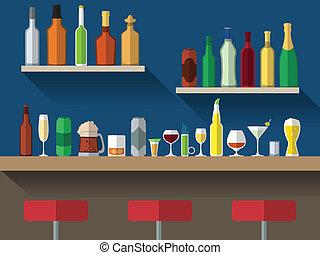 plat, toonbank, bar