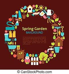 plat, tuin, lente, verzameling, voorwerpen, cirkel