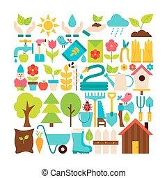 plat, tuin, voorwerpen, lente, verzameling, vector, groot