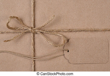 plat, twijn, bruine , vlakte, label, papier, leggen, verpakte, kerstkado