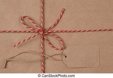 plat, twijn, pakket, bruine , ruimte, gebonden, label, leggen, expeditie, kopie