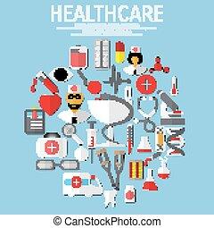 plat, vector, gezondheidszorg