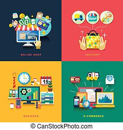 plat, zakelijk, shoppen , aflevering, ontwerp, e-handel, online
