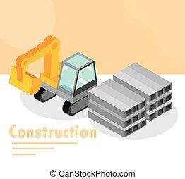 platen, staal, roestvrij, isometric, graafwerktuig, bouwsector, vrachtwagen