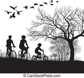 platteland, cycling, gezin