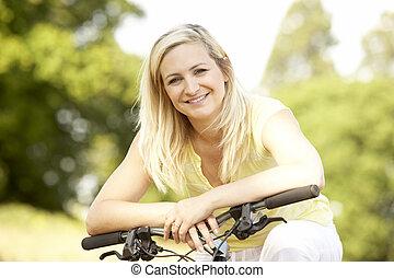 platteland, fiets, vrouw, jonge, paardrijden