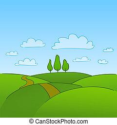 platteland, groene bomen