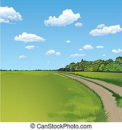 platteland, landelijke scène, straat