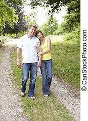 platteland, middelbare , wandelende, oud, paar