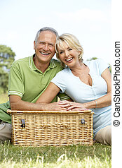 platteland, paar, picknick, hebben, middelbare leeftijd