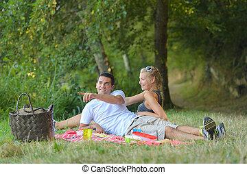 platteland, paar, picknick, hebben