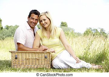 platteland, paar, picknick, jonge, hebben