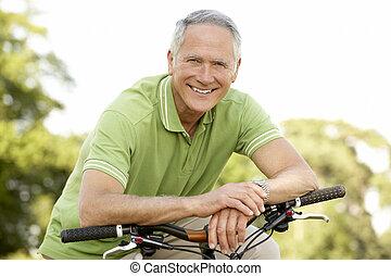 platteland, paardrijden, cyclus, man, verticaal