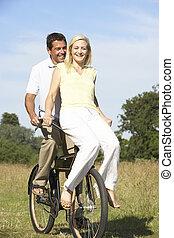 platteland, paardrijden, paar, fiets, jonge