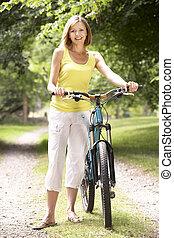 platteland, paardrijden, vrouw, fiets