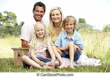 platteland, picknick, hebben, gezin