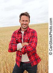 platteland, verticaal, glimlachende mens