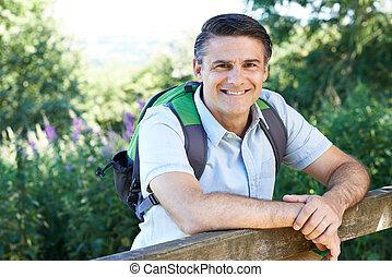 platteland, verticaal, middelbare leeftijd , wandelende, man