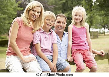 platteland, verticaal, omheining, gezin, zittende