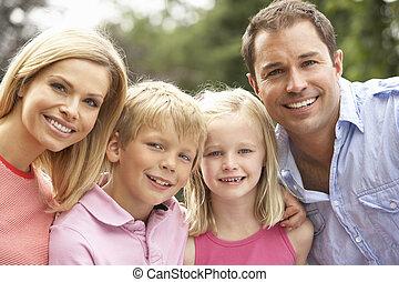 platteland, verticaal, relaxen, gezin