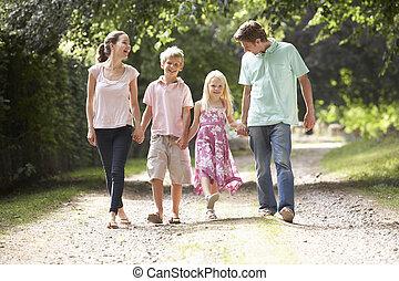 platteland, wandelende, gezin, samen
