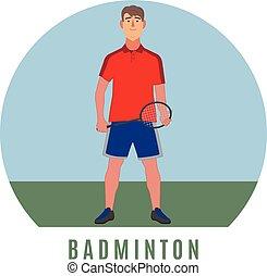 player., plat, stijl, badminton