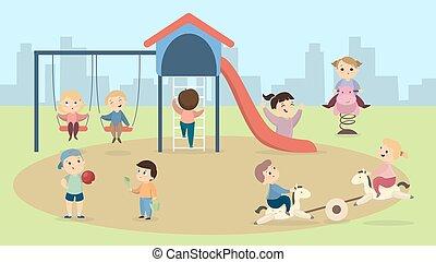 playground., kinderen