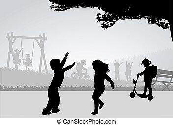 playground., spelende kinderen
