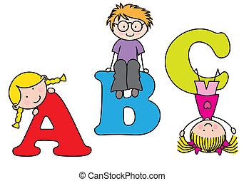playing., alfabet, kinderen