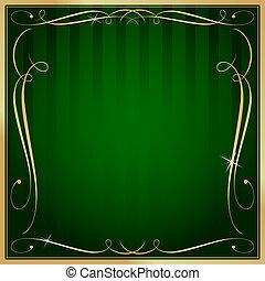 plein, goud, leeg, vector, groene achtergrond, sierlijk, gestreepte