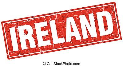 plein, grunge, postzegel, ouderwetse , vrijstaand, ierland, rood