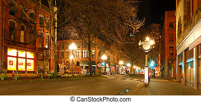 plein, lente, vroeg, pionier, night., straat., seattle, lege