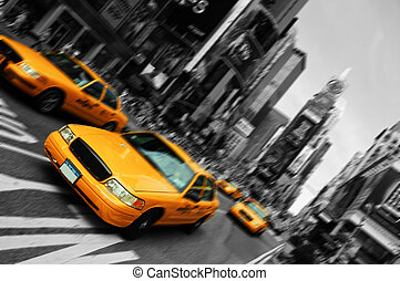 plein, motie, taxi, verdoezelen, stad, tijden, york, brandpunt, nieuw