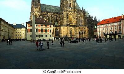 plein, ongeveer, praag, wandeling, historisch, toerist